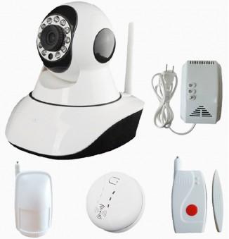 IP wifi beveiligingscameraset, rook, beweging, gas en deur melder